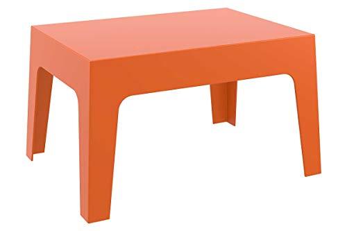 CLP Mesa De Exterior Box En Polipropileno I Mesa Auxiliar De Jardín I Mesa De Terraza Resistente a Rayos UV I Mesa De Jardín Apilable I Color: Naranja