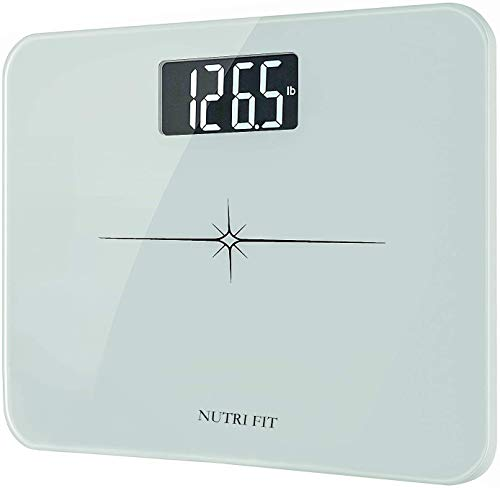 """High Precision Digital Body Weight Bathroom Scale with Ultra Wide Platform and Easy-to-Read Backlit LCD, 400 Pounds Elegant White (14'' x12"""")"""