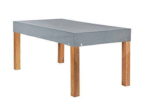 Heinemeyer Teak Safe Atmungsaktive Tischplattenhaube Grau eckig 160x90cm mit 15cm Abhang und Ösen im Saum vollflächig atmungsaktiv