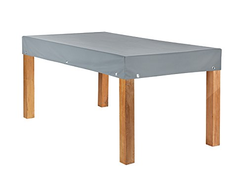 Teak Safe Atmungsaktive Tischplattenhaube grau eckig 200x100cm mit 15cm Abhang und Ösen im Saum vollflächig atmungsaktiv