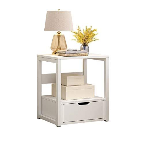 Mesa de centro pequeña simple simple y moderna para sala de estar, dormitorio, armario, cama, taquilla, mesita de noche con cajón mesa auxiliar (color: blanco)