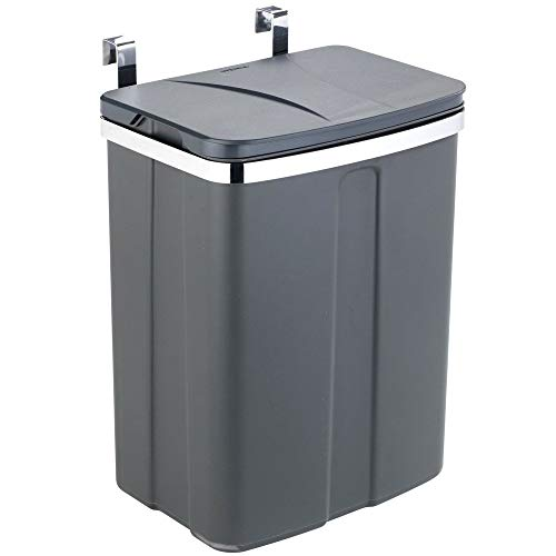 Wenko Tür-Abfalleimer - Schrank-Abfalleimer, Küchen-Mülleimer Fassungsvermögen: 12 l, 26 x 21,5 x 37 cm, grau