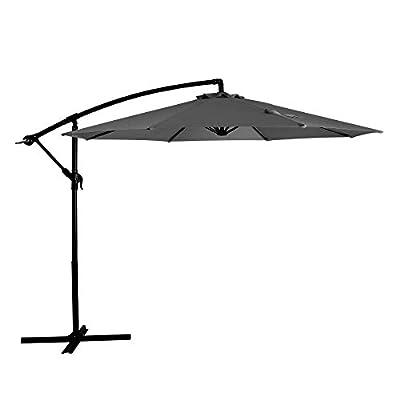 JIESSIWONG Offset Umbrella - 10ft Cantilever Patio Umbrella Hanging Outdoor Umbrellas with Crank & Cross Base (10ft,Grey)