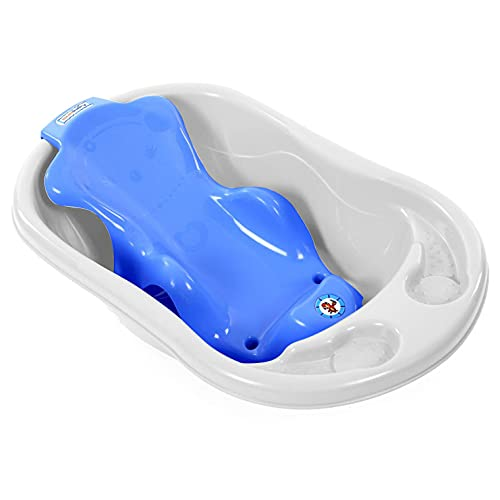 Sunbaby Baby Anti Slip Big Plastic Bathtub with Bath Toddler Seat Sling Non Slip Suction for Bathing,Baby Shower,Bubble Bath-Combo...