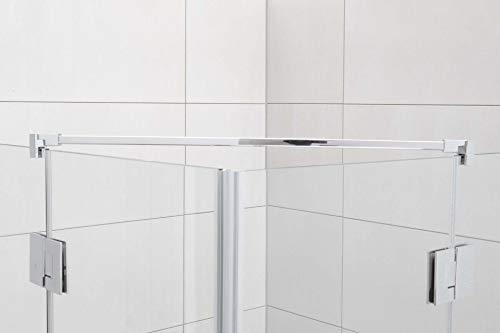 Stabilisationsstange für Eck-Duschen, Haltestange Glas-Glas, Stabilisator Runddusche (100cm, Chrom Eckig)