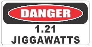 (3) Danger 1.21 jiggawatts funny hard hat/helmet stickers