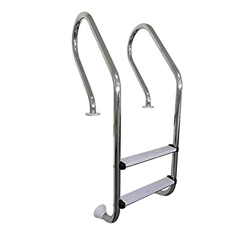 Escalera de piscina, equipo de escalera de piscina de acero inoxidable 304, con 2 capas de escalera antideslizante, apta para interior y exterior, sin preinstalación/silver / 57cm