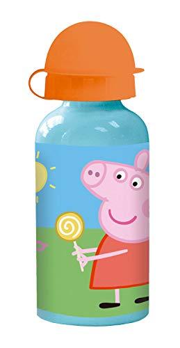 POS 30714 - Trinkflasche mit Peppa Wutz Motiv, aus Aluminium, bpa- und phthalatfrei, Fassungsvermögen circa 400 ml, ideal für Unterwegs, Kindergarten und Sport, für Jungen und Mädchen