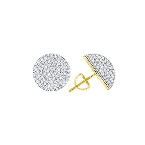 Pendientes de plata de ley 925 con circonita cúbica y circonita cúbica de imitación de diamante de media bola para mujer