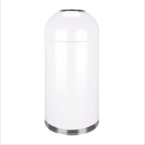 Basurero redondo con cubo interior extraíble de acero inoxidable comercial para exteriores, hotel, tienda, centro comercial, cubo de basura (color: blanco, tamaño: 52 L)