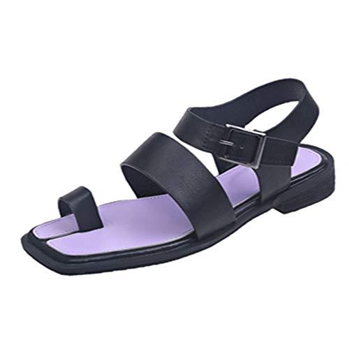 KIMIGAGA Mujer Comodo Planos Sandalias Verano Dedo del pie Escuela Zapatos Hebilla Black Talla 36 Asiática