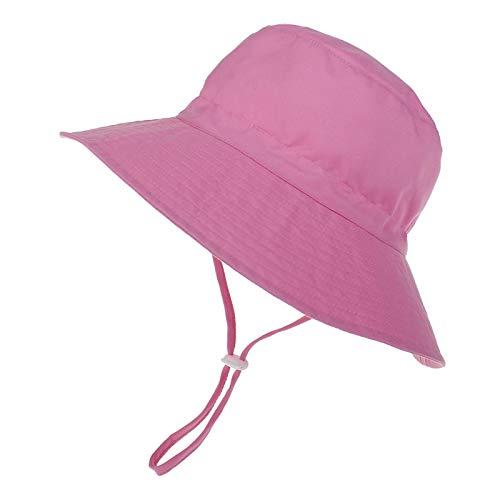 LACOFIA Kleinkind Baby Sonnenhut Kinder Mädchen Sommer Mütze UPF 50+ Hut für Strand Schwimmen Schwimmbad Breiter Krempe/Schnell Trocknend Rosa 6-24 Monate