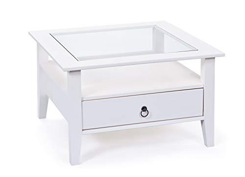 mesa de café cuadrada con cajón y tablero de cristal