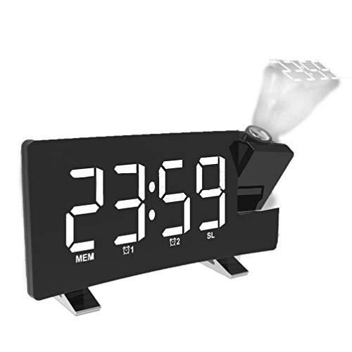 Radio Projektionswecker, Großbild-LED-Digitaluhr Mit Automatischer Verdunkelung, Elektronische Uhr Mit AM FM Radio, Sleep Timer, 180 ° Projektor, Doppelter Wecker, Laden Über USB,Weiß