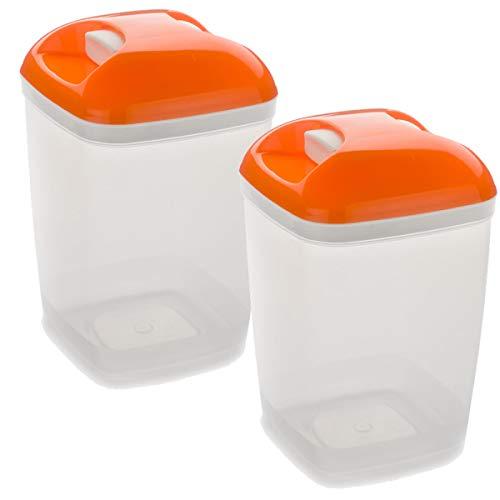 Set de 2 Coupelles hermeticos carrés avec couvercle orange de 1,2 litres – BPA Free.