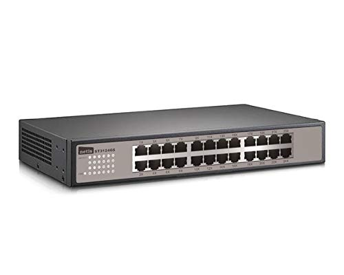 Netis ST3124GS 24 port Unmanaged 10/100/1000M Gigabit Switch, Desktop Ethernet Splitter, Ethernet Hub, Plug and Play, Fanless Quite, Traffic Optimization, Sturdy Metal Desktop size, expandable to standard 19 inch rack mount with included mounting bracket, Gigabit 1000Mbps