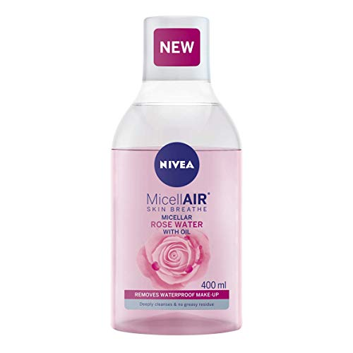 NIVEA MicellAIR Rose Water Micellar Water with Oil (400ml), Micellar Cleansing Water, Waterproof Makeup Remover, Rose Water Toner for Thorough Cleansing
