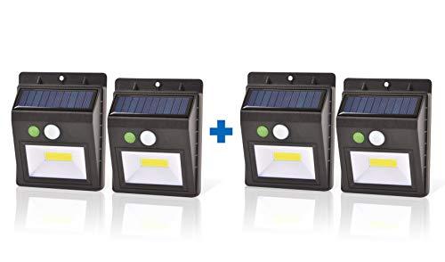 Jacar | Luz Solar para Exteiores Con Censor de Movimiento | Pack de 4 Focos Led Blancos para Jardín y Piscina | Lámparas Solares de 3 posiciones con Sistema Microled Súper Potente