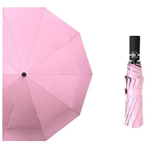 Yi-xir Experiencia Confortable Paraguas reflexivo de los Hombres y Las Mujeres plegas de sombrilla al Aire Libre Paraguas de Viaje Compacto (Color : Pink)