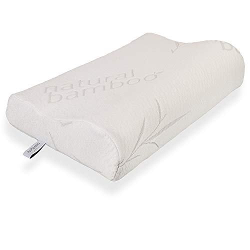 Bamboo Memory Foam Contour Pillow - A Firm Flexible Therapeutic Posturepedic Pillow for Sound Sleep and Reduced Neck and Shoulder Pain - Standard Size (20 x 12 in)