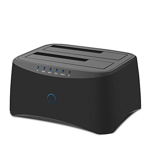 Neeyer USB 3.0 to SATA Dual Bay External Hard Drive Docking Station for 3.5/2.5 HDD, SSD Hard Drive Clone Docking Station with Duplicator/Offline Cloner Function [10TB & UASP Support]