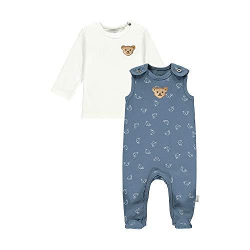 Steiff Set Strampler + T-Shirt Langarm GOTS - Pelele y camiseta de manga larga, Color azul, 6 mes Unisex bebé