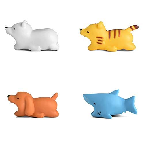 Newseego Cable Compatible de los Cables del Protector del Cable del ahorrador del Cargador del Cable de los Protectores del iPhone - Paquete de 4 (Tiburón, Oso Polar, Perro, Tigre)