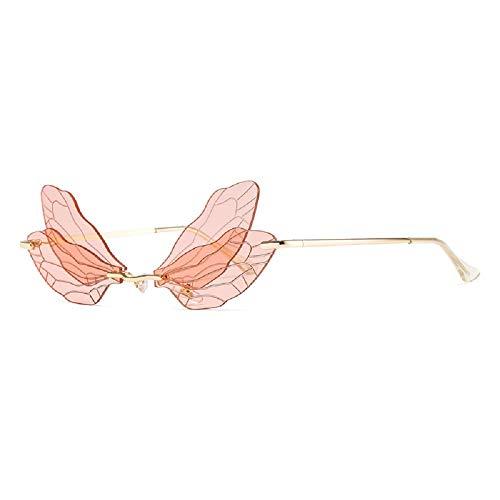 Gafas de sol sin montura de ala de libélula de moda, apagón Uv400, espejos de moda de sol, gafas divertidas, gafas de sol de decoración de vacaciones, color Rosa, talla Medium