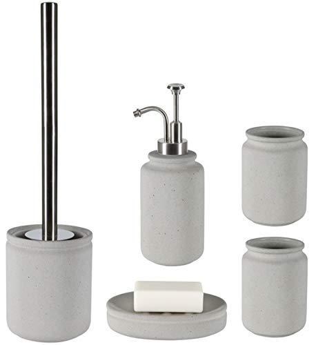 Spirella Badezimmer Set, 5-teiliges Badzubehör aus Keramik Cement Seifenspender, WC Bürste, Seifenschale, Aufbewahrungsdose und Zahnputzbecher Grau