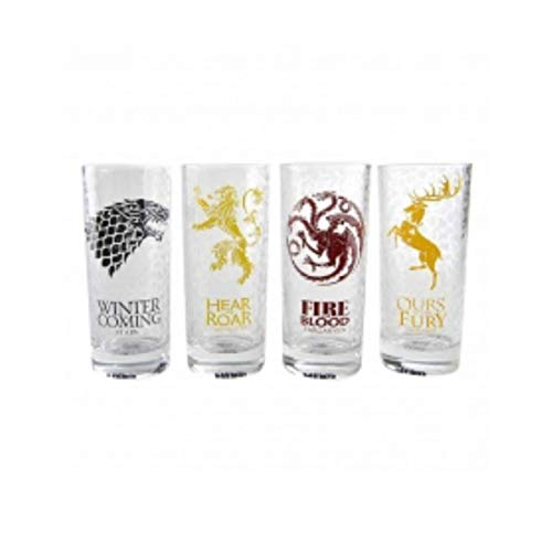 Game Of Thrones Casas Juego de Tronos, Set de 4 Vasos