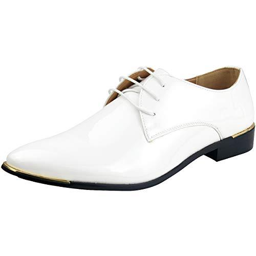 Wealsex Herren Anzugschuhe Hochzeit Derby Lederschuhe Schnürhalbschuhe Oxford Schuhe Smoking Lackleder Weiß Etikett 44=EU 43