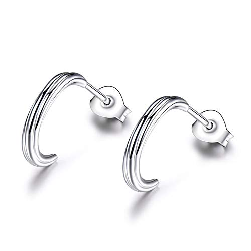 Dreamdge 925 Sterling Silver Earrings Arc, Silver Stud Earrings Wedding Gift Birthday Gifts for Her