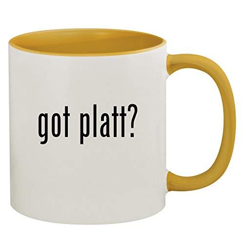 got platt? - 11oz Ceramic Colored Inside & Handle Coffee Mug, Golden Yellow