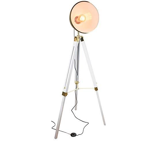 Cmp-Paris - Lámpara de pie con Pantalla Dorada sobre trípode, Estilo Industrial, 65 x 56 x 143,5 cm, Color Blanco