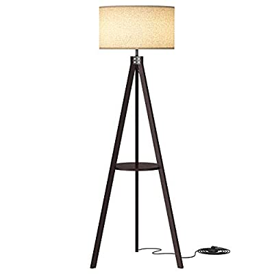 LEPOWER Wood Tripod Floor Lamp, Mid Century Standing Wooden Lamp, Modern Design Studying Light with Shelf for Living Room, Bedroom, Office, Flaxen Lamp Shade with E26 Lamp Base