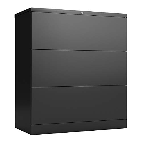 joyce555 Large Capacity 2/3 Large Locking Drawers Wide File Cabinet Storage Cupboard Home Office Decoration 3 Layer