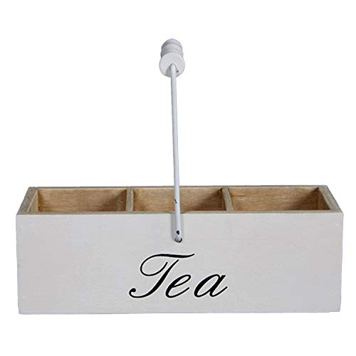 Unbekannt Teekiste Teebox aus Holz 'Tea' Landhaus Teedose weiß 22x8x6,5 cm