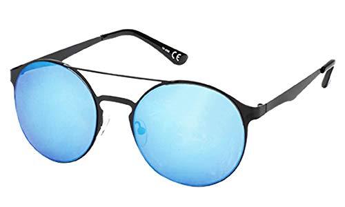 Chic-Net Sonnenbrille Panto Doppelsteg Round 400 UV verspiegelt Metall schwarz golden blau