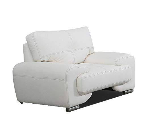 MOEBLO Sessel gepolstert - Polsterstuhl für Esszimmer & Wohnzimmer - Lounge Sessel mit Armlehnen - Armlehnensessel Fernsehsessel Polstersessel Federkern - mit Design Füßen - Florida Lux (Weiß)