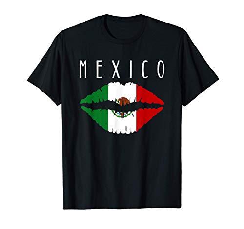 Playera de Mexico Bandera Mexicana con Labios Te Amo Mexico Camiseta