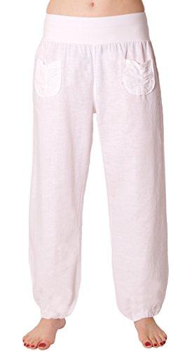 FASHION YOU WANT Damen Leinenhose Größe 36/38 bis Größe 50/52 aus 100% Leinen - leichte Sommerhose Tunnelbund mit Gummizug und 2 aufgesetzten Taschen vorne - weiter Schnitt (56/58, weiß)