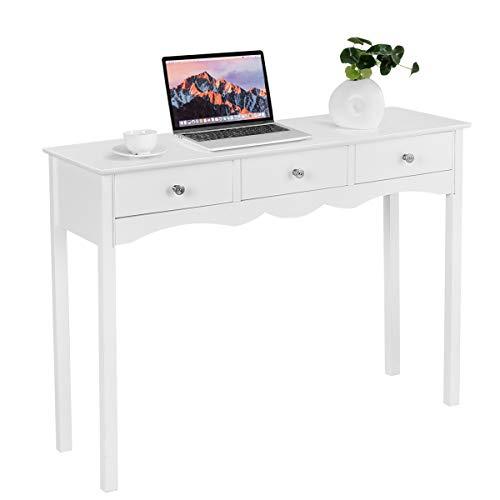 COSTWAY Schreibtisch mit 3 Schubladen, Konsolentisch, Schminktisch weiß, Computertisch für das Heimbüro