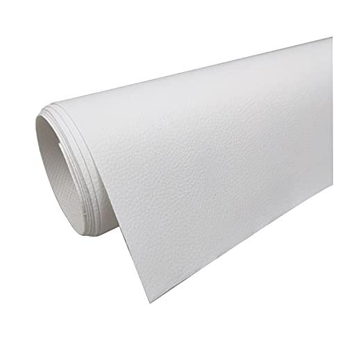 Tela de Cuero 160 Cm de Ancho PVC Litchi Patrón de Imitación de Cuero para Reparación de Sofás Costura Elaboración de Proyectos de Bricolaje - (1 Pieza = 100Cm X160cm) -Blanco,1.6x15m