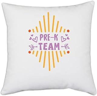UDNAG White Polyester 'Student Teacher | Pre-k Team' Pillow Cover [16 Inch X 16 Inch]