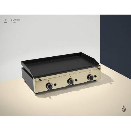 Plancha a gaz inox - 3 brûleurs - Plaque Lisse 6 mm - 800 x 455 x 230 mm - Pinha2 - Inox