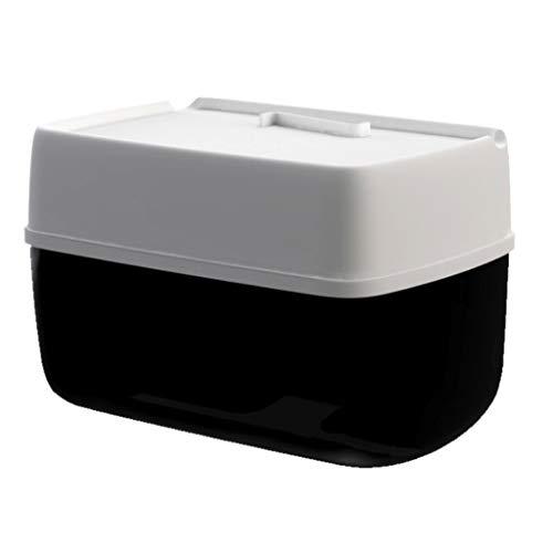 YFQHDD Los titulares de Papel de WC con multifunción Prueba de Montaje en Pared de baño del Organizador del almacenaje con Impermeable (Color : Black)