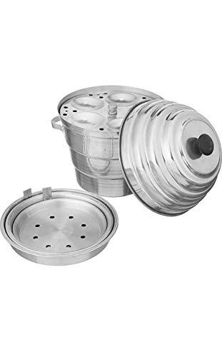 JAI Unique Aluminum Idli Maker Cooker with Khaman Dhokla Plates (4 Idli Plates, 2 Dhokla Plates, 1 Jaali) | Silver