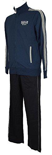 Lotto Full Sweatshirt with Zip Sport Suit Tracksuits Men's Man Item N6767 Suit Jack JS, Sapphire/Deep n, Small