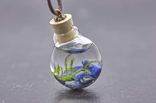 Unterwasserwelt Moos Lapis Lazuli echte Wasserpflanze Kette echtes Borosilikatglas