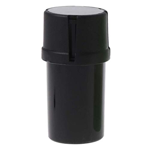 3 Part Spice Mill Plastic Herb Grinder Crusher Can Tobacco Storage Case (Black)